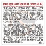 Texas Open Carry Of Handgun Restriction Poster (English & Spanish)